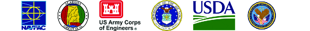 Row of logos for the State of AL, US Air Force, USDA, USACE, NAVFAC, and VA