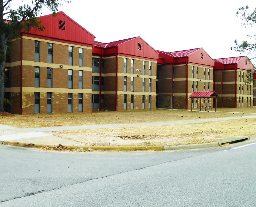 Three-story brick barracks at Fort Gordon, GA