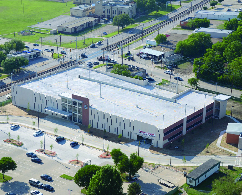 Aerial shot of a concrete parking garage at the Dallas VA Clinic
