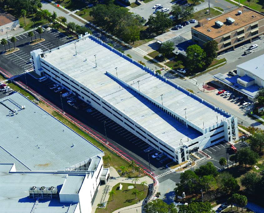 Aerial shot of concrete parking deck at MacDill AFB