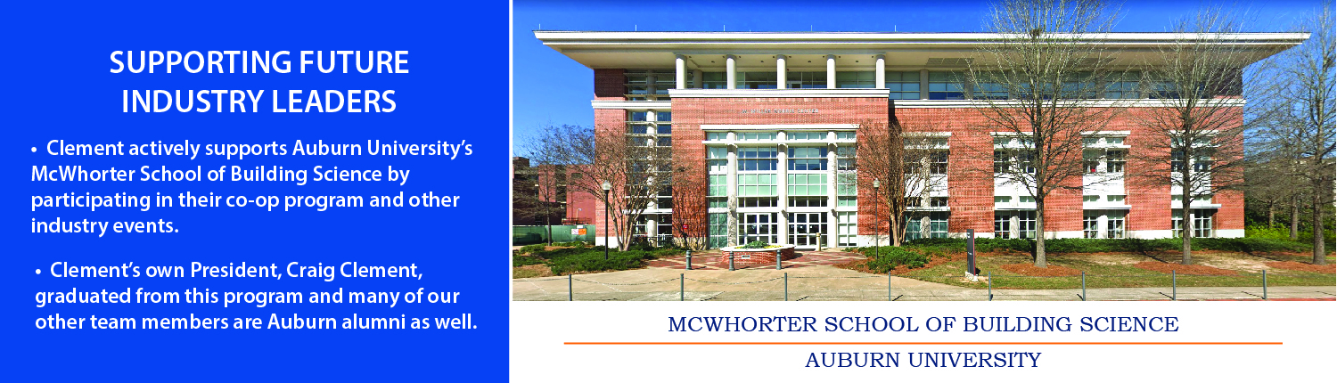 Two story brick building that serves as the McWhorter School of Building Science at Auburn University in Alabama.