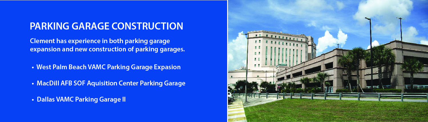 Three level precast concrete parking garage at the West Palm Beach VA Clinic